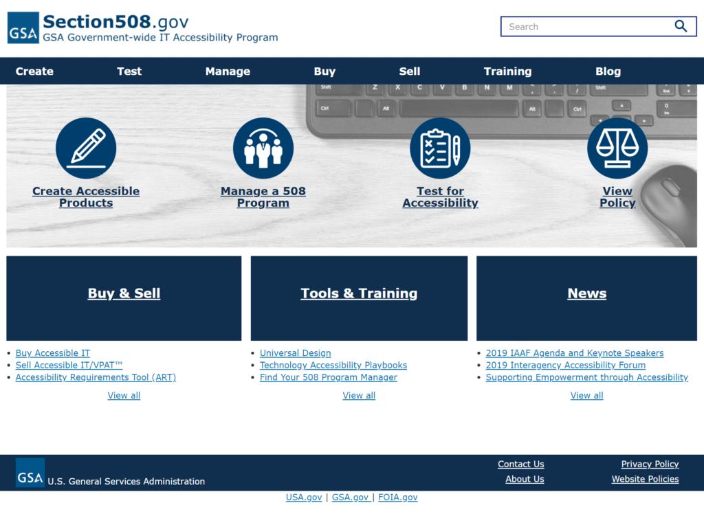 Screen Shot of Section508.gov website.